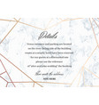 wedding details card geometric design vector image vector image