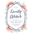 wedding floral invitation save date card vector image vector image