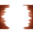 white hole in red brick wall vector image