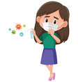 a girl wear mask and using alcohol sanitizer vector image vector image
