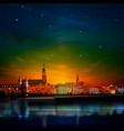 abstract red green sunset background with panorama vector image vector image