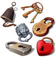 ancient modern and romantic padlocks with keys vector image vector image