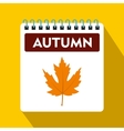 Calendar with maple leaf icon flat style vector image vector image