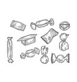 candies set sketch engraving vector image