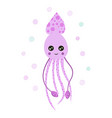 card with cute squid isolated on white marine vector image