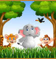 cartoon animals in the jungle vector image vector image