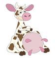 cartoon cow very pleased vector image vector image