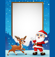 cartoon reindeer and santa claus with blank board vector image
