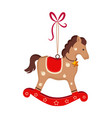 christmas toy rocking horse greeting card vector image vector image