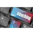 Coaching Button on Modern Computer Keyboard with vector image vector image
