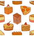 colored seamless pattern with cakes and pastries vector image