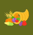 cornucopia and fruits for thanksgiving day vector image