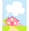 Cute cartoon house with copyspace