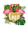 Cute flamingo love background