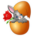 easter bunny hatched from an egg with red flower vector image vector image
