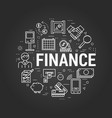 finance concept on black vector image vector image