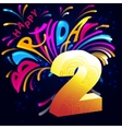 Fireworks Happy Birthday with a gold number 2 vector image