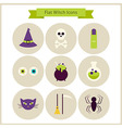 Flat Magic Witch Icons Set vector image vector image