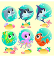 Funny marine animals with backgrounds vector image vector image