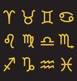 golden zodiac symbols vector image vector image