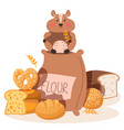 hamster eat flour small pest rodent flour vector image