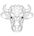 Hand drawn doodle outline cow head vector image vector image