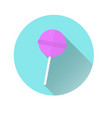 icon of a pink chupa chups icon on a blue circle vector image