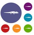 iguana icons set vector image vector image