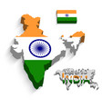 india 3d flag and map vector image vector image