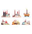 industrial buildings flat set vector image