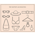 Line drawing set women accessories