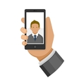 Man Making Selfie Photo on Phone Flat Icon vector image vector image