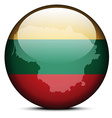 Map on flag button of Lithuania vector image vector image