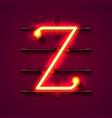 neon font letter z art design signboard vector image vector image