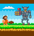 primitive man attacks mechanical robot in iron vector image vector image