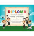 School Kids Diploma certificate background design vector image