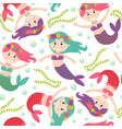 seamless pattern with mermaid vector image vector image