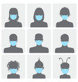 set avatars in medical masks vector image