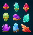 set colorful magic energy gems gemstones vector image