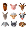 set of farm animals in low poly style animal icon vector image