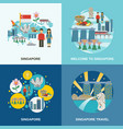 singapore culture 4 flat icons composition vector image