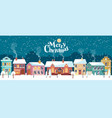 snowy christmas night in cozy town panorama vector image