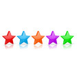 stars set colored star shaped icons vector image