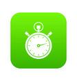 stopwatch icon digital green vector image