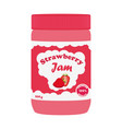 strawberry jam in glass jar made in flat style vector image vector image