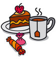 tea and candy vector image vector image