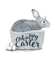 wicker basket with easter bunny spring chickens vector image