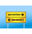Yellow sign with place for your own text vector image