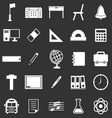 School icons on black background vector image
