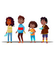 african children waiting in line with empty plates vector image vector image